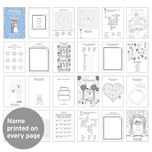 Little Gifts With Love - Personalised Wedding Activity Book for Boys