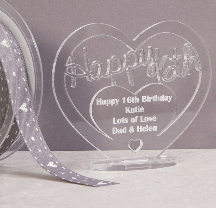 Little Gifts With Love - Personalised Acrylic Freestanding Heart for Birthday Gift with Message