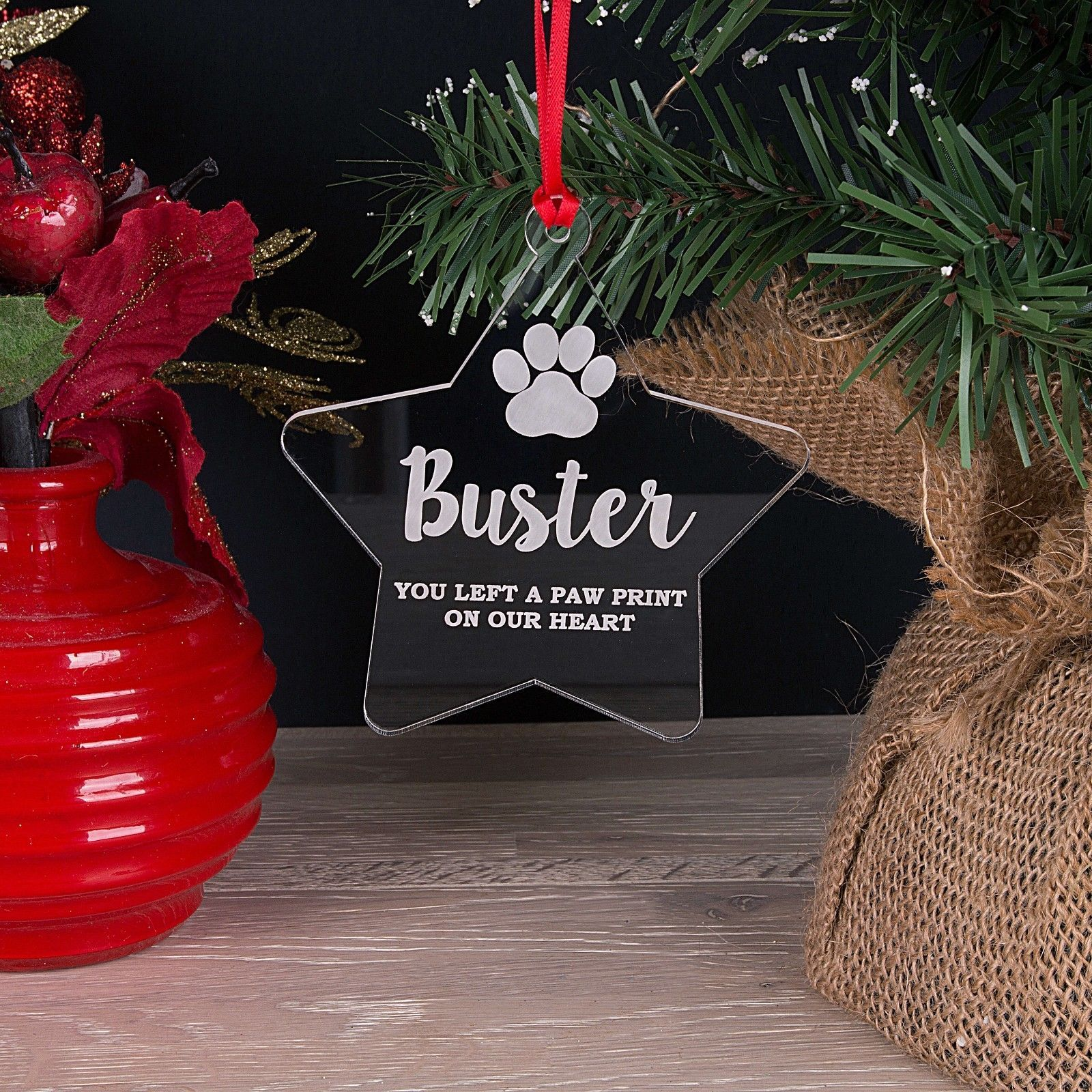 Little Gifts With Love - Personalised Pet Memorial Star Christmas Tree Decoration Bauble Gift