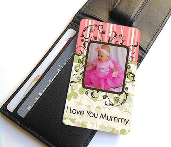 Little Gifts With Love - Personalised Aluminium Photo & Message Mini Wallet Or Purse Insert Card