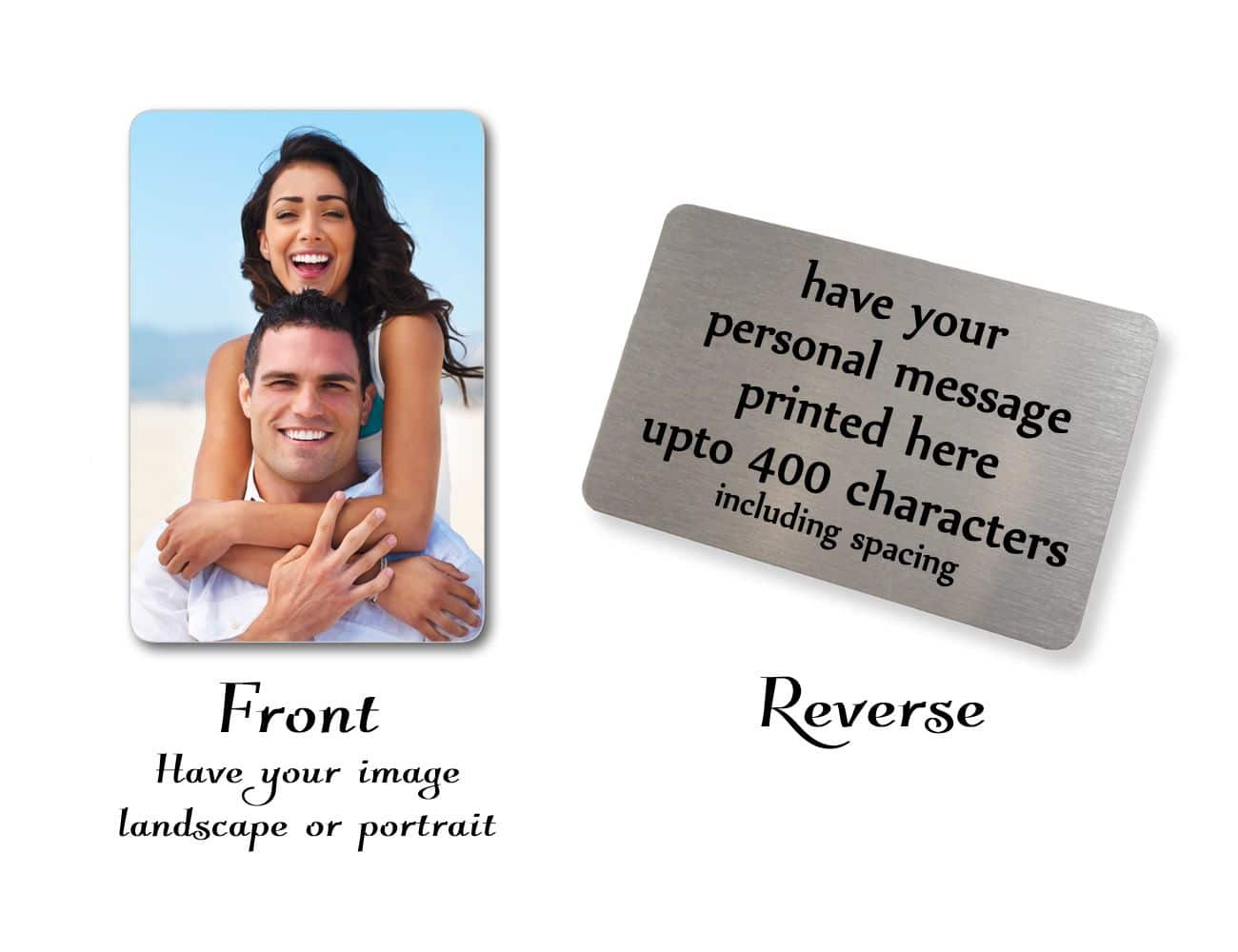 Little Gifts With Love - Personalised Aluminium Photo & Text Credit Card Size Wallet Or Purse Insert Card