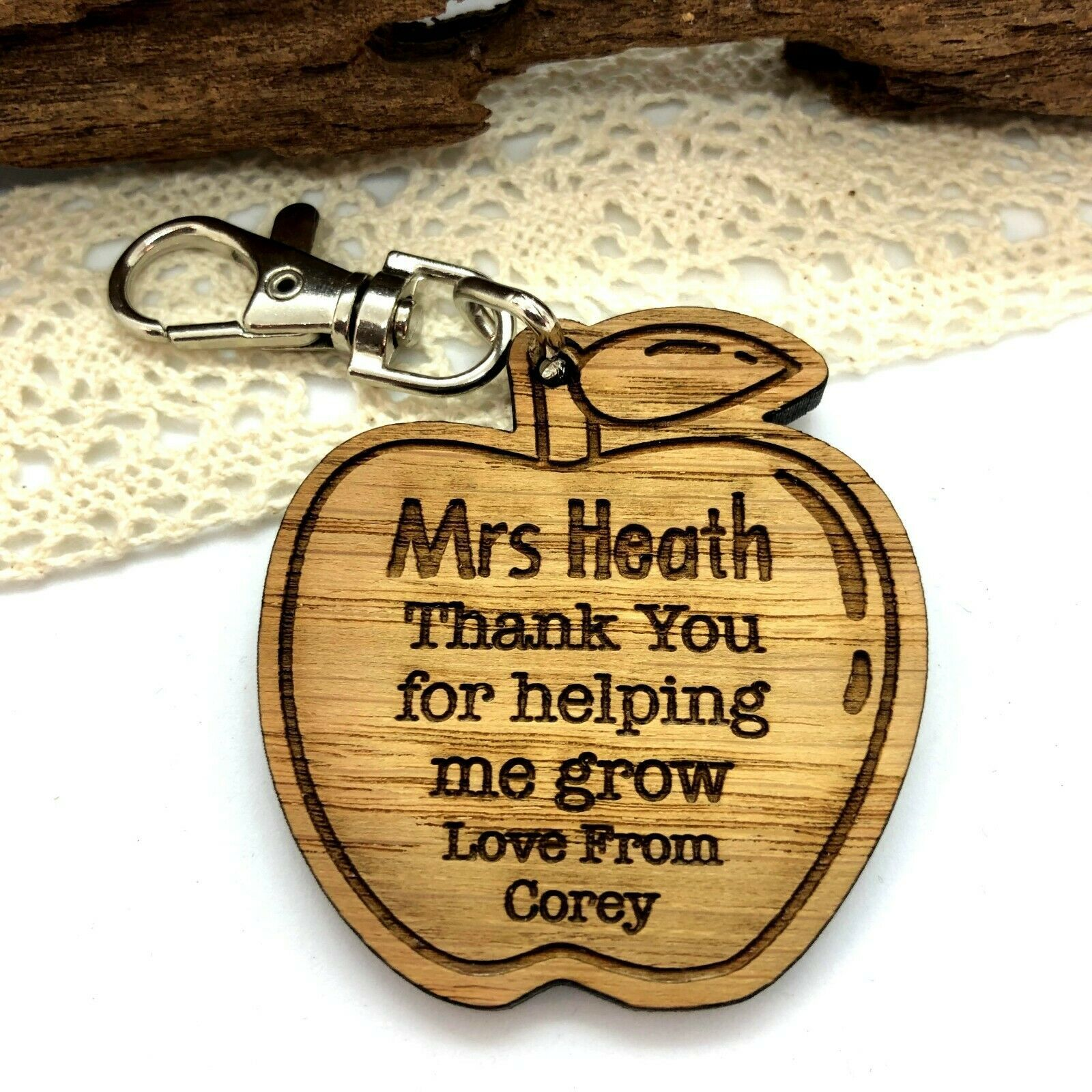 Little Gifts With Love - Personalised Teacher, Teaching Assistant, Apple Keyring, End of Term, Year Gift