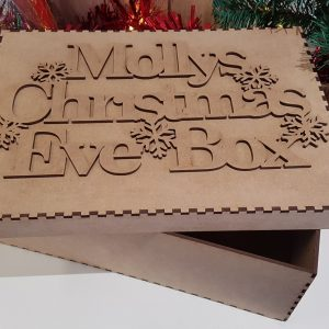 Little Gifts With Love - Personalised Christmas Eve, Day Box Topper & Box Laser Cut Wood Craft Memory Box