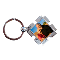Little Gifts With Love - Personalised Chrome Metal Rectangle Custom Photo Keyring