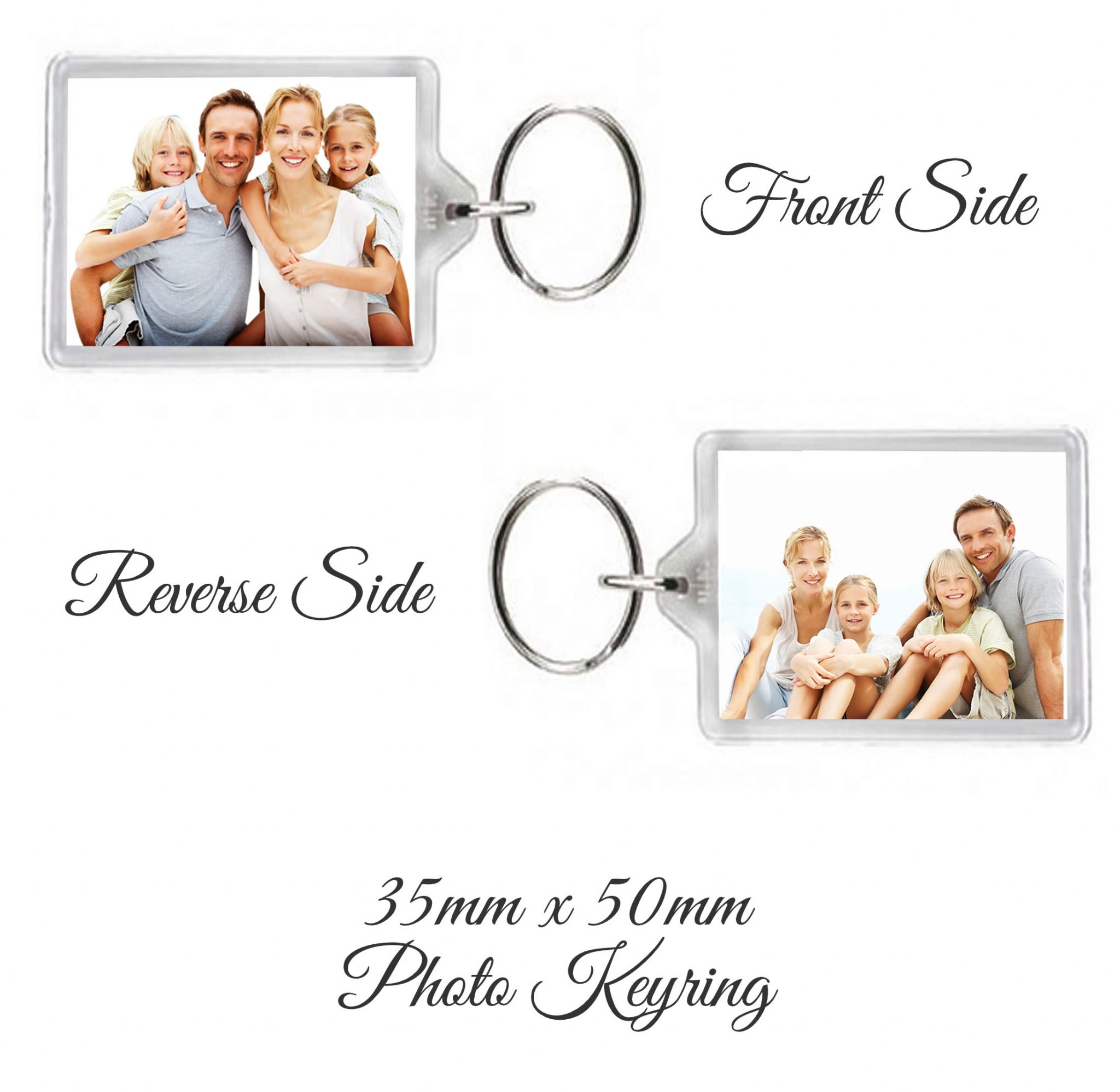 Little Gifts With Love - Personalised Double Sided Photo Keyring 50mm x 35mm Add Any Two Image's or Photo's
