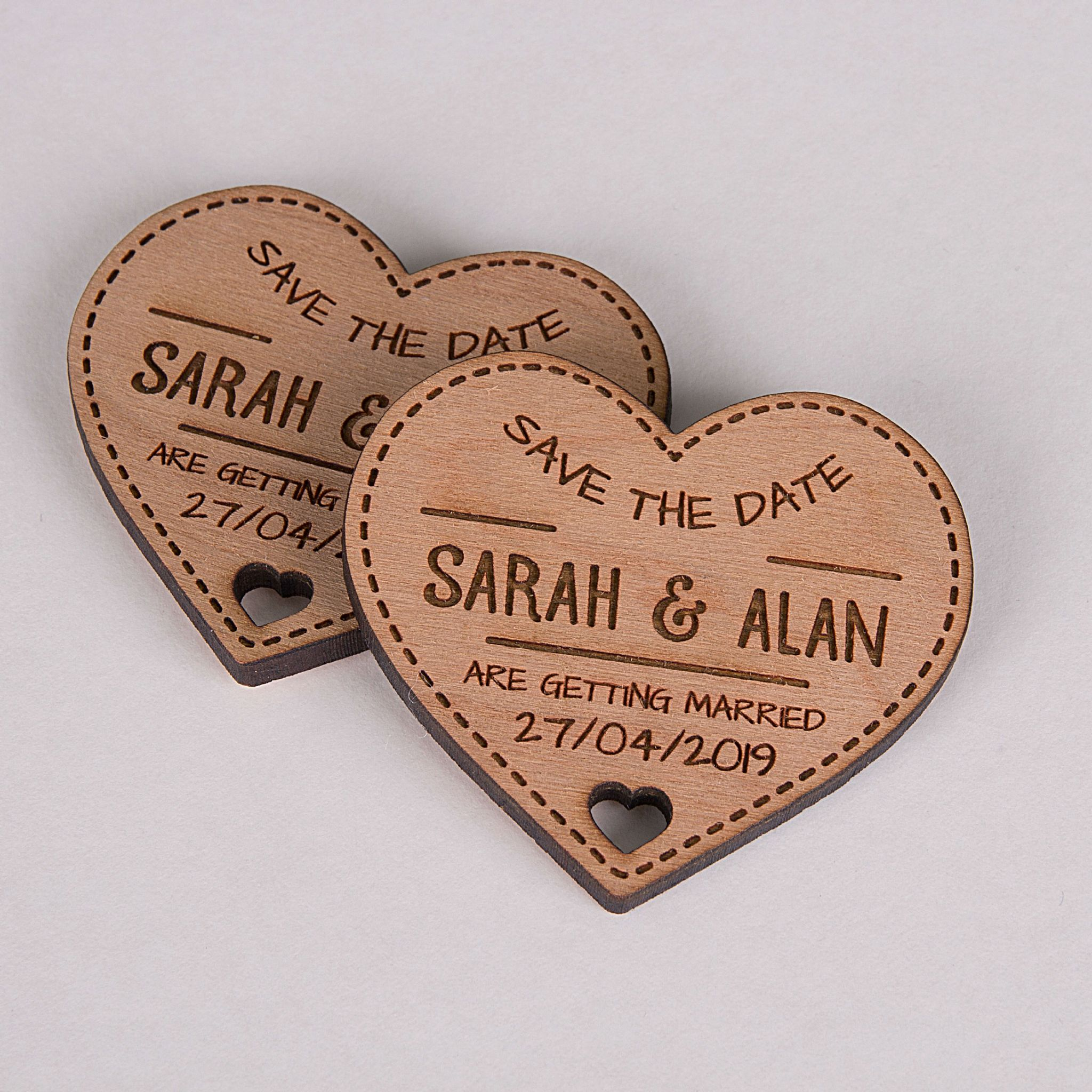 Little Gifts With Love - Personalised Engraved Rustic Cherry Wooden Heart Save The Date Fridge Magnets Invites