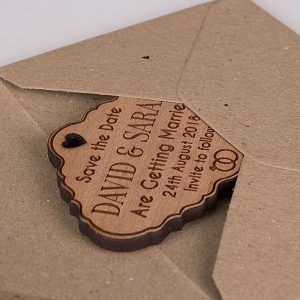 Little Gifts With Love - Personalised Engraved Rustic Cherry Wooden Save The Date Fridge Magnets Invite