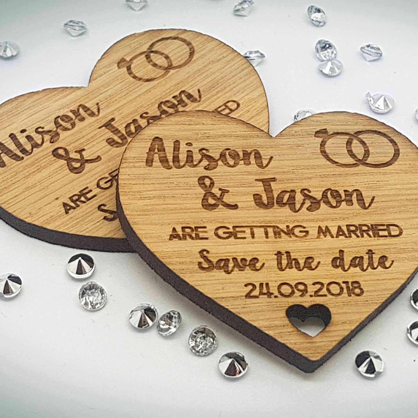 Little Gifts With Love - Personalised Engraved Rustic Oak Wooden Heart Save The Date Fridge Magnet Invites