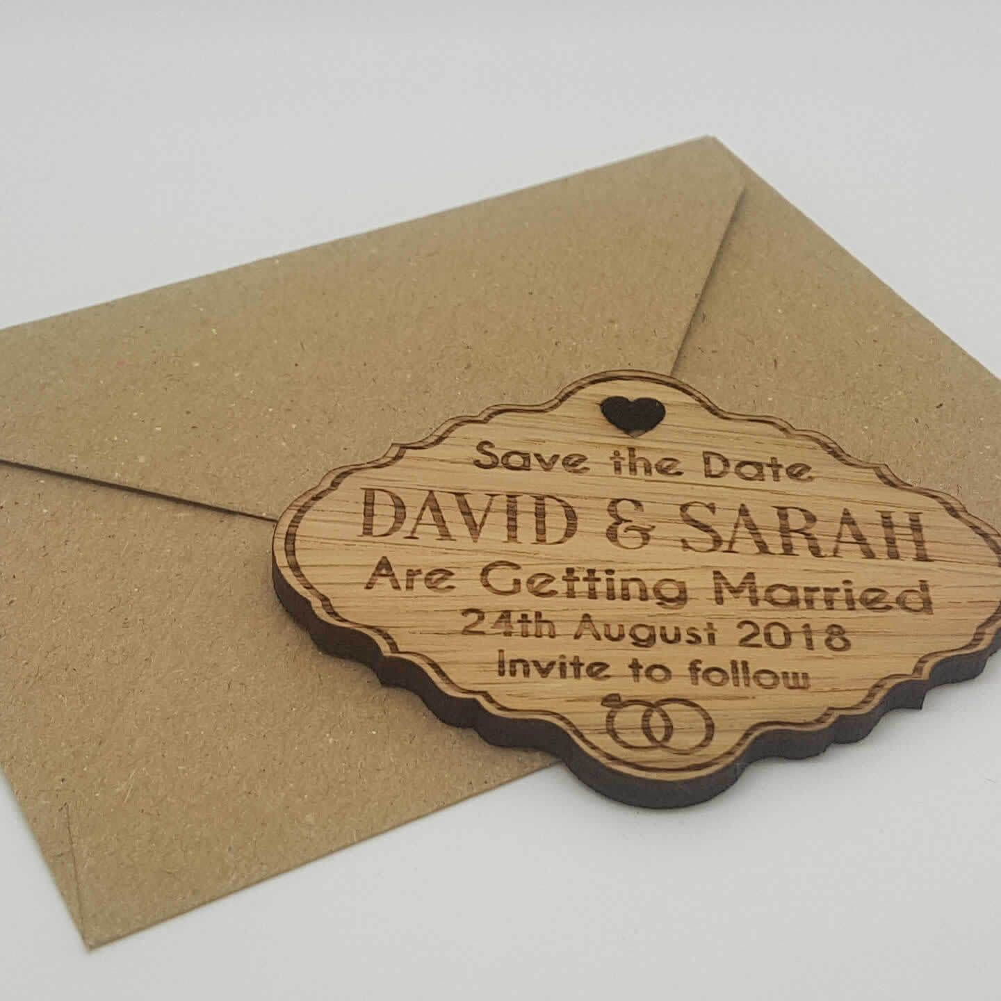 Little Gifts With Love - Personalised Engraved Rustic Oak Wooden Save The Date Fridge Magnets Invite