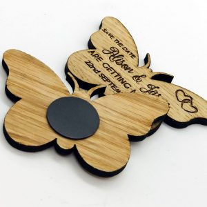 Little Gifts With Love - Personalised Engraved Rustic Wooden Oak Butterfly Save The Date Fridge Magnets Invites