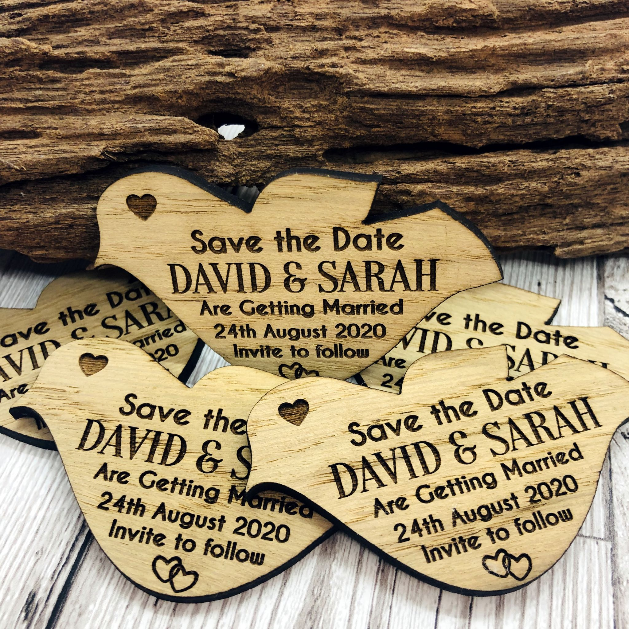Little Gifts With Love - Personalised Engraved Rustic Wooden Oak Dove Save The Date Fridge Magnets Invites