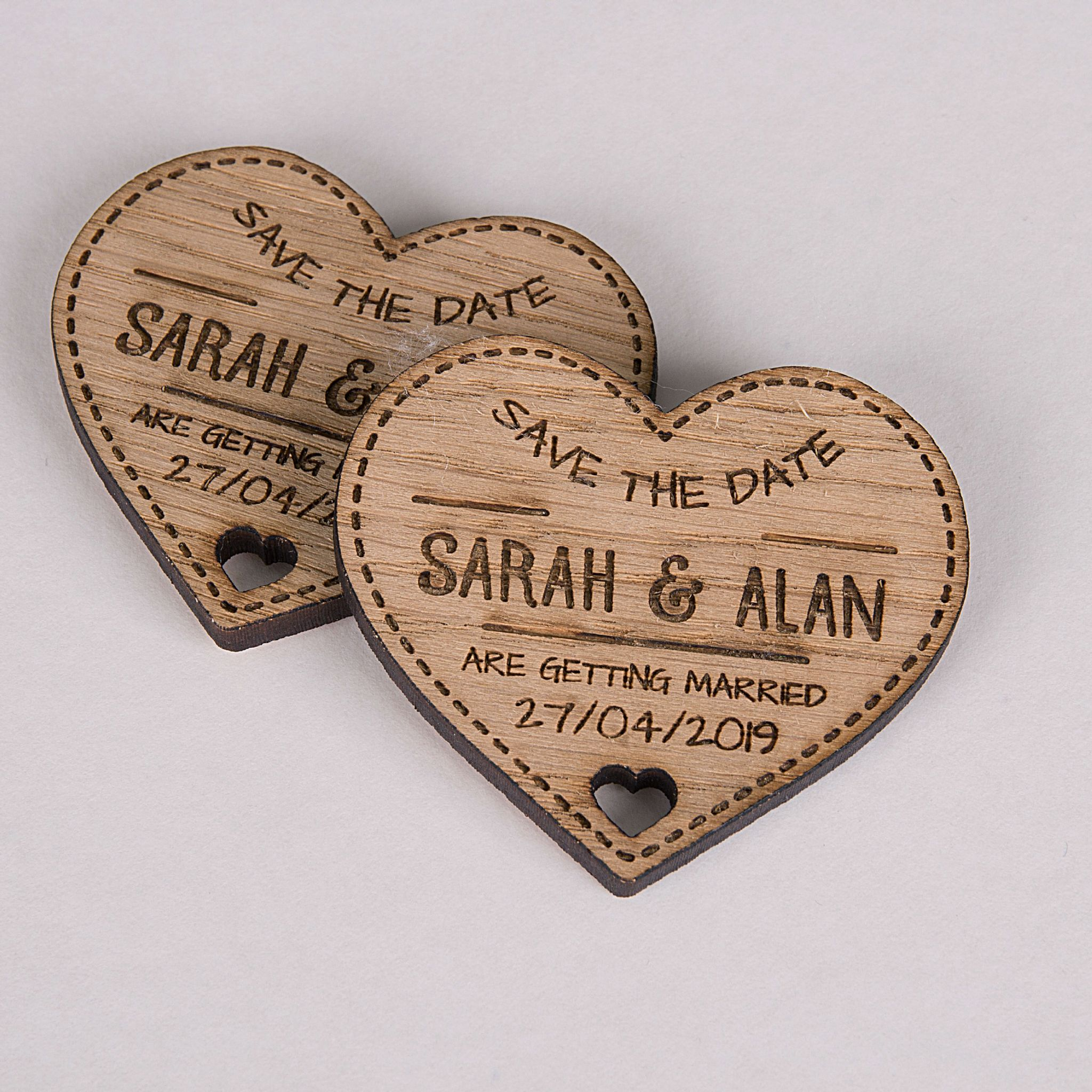 Little Gifts With Love - Personalised Engraved Rustic Wooden Oak Heart Save The Date Fridge Magnets Invites