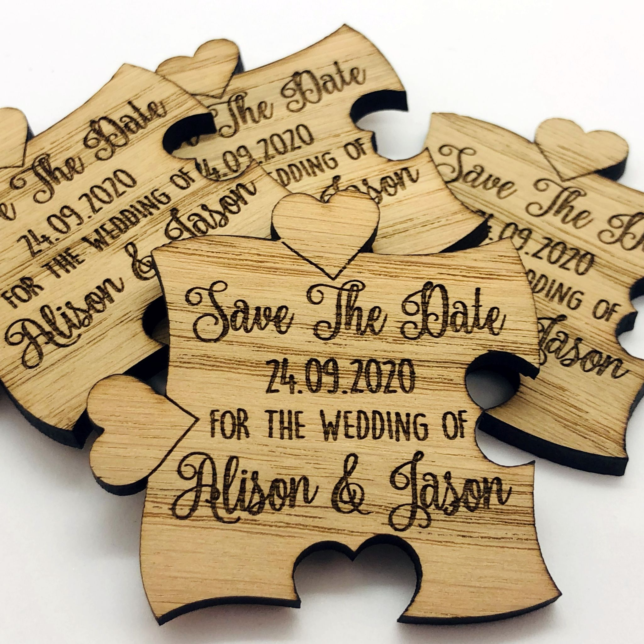Little Gifts With Love - Personalised Engraved Rustic Wooden Oak Jigsaw Save The Date Fridge Magnets Invites