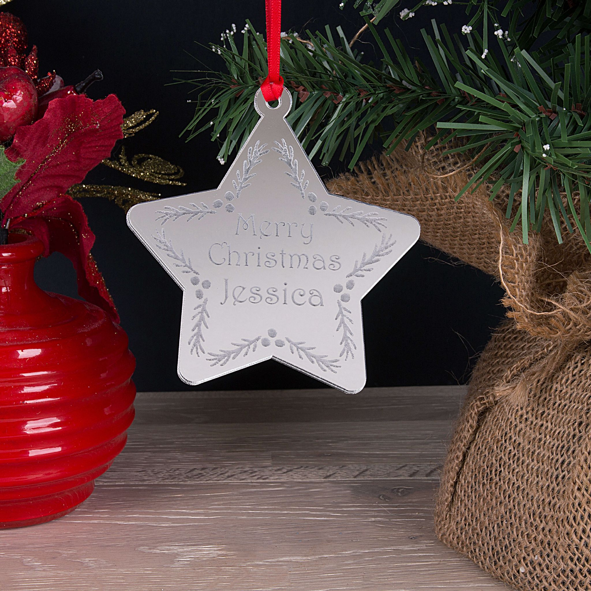 Little Gifts With Love - Personalised First Name Engraved Christmas Tree Star Decoration Bauble Gift