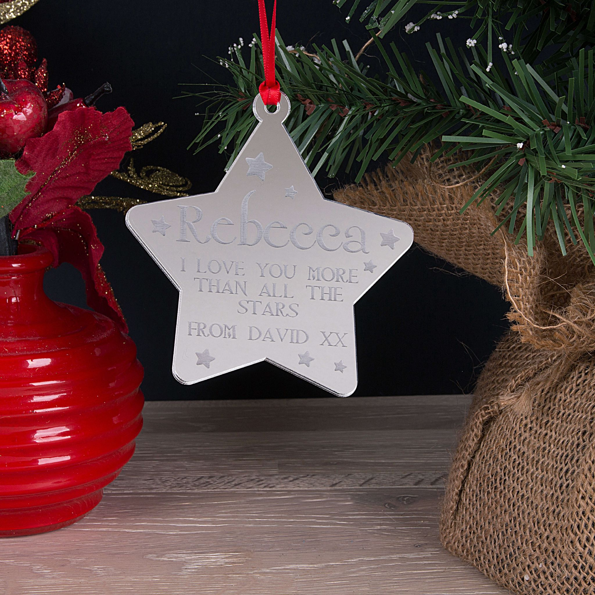 Little Gifts With Love - Personalised Love You More Christmas Tree Star Decoration Bauble Gift
