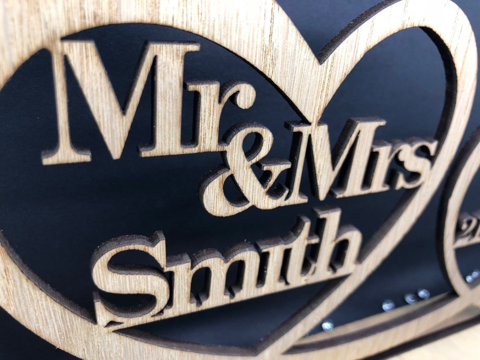 Little Gifts With Love - Personalised Mr & Mrs Wood Table Sign & Date Mr and Mrs Wedding Decoration Gift