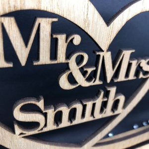 Little Gifts With Love - Personalised Mr & Mrs Wooden Top Table Sign & Date Mr and Mrs Wedding Gift