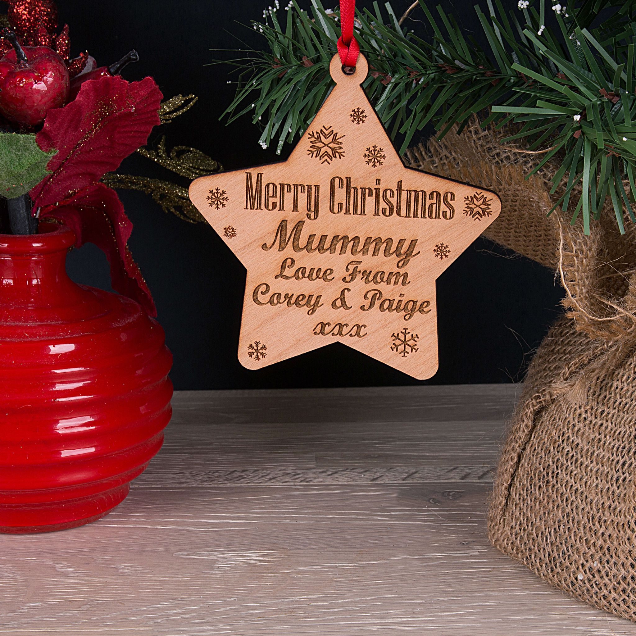 Little Gifts With Love - Personalised Mummy, Mum, Daddy Christmas Tree Star Decoration Bauble Gift