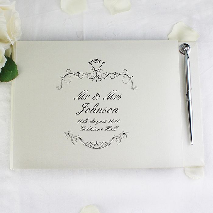 Little Gifts With Love - Personalised Ornate Swirl Guest Book & Pen