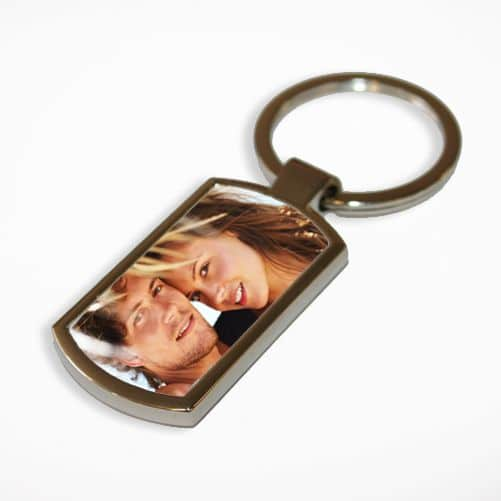 Little Gifts With Love - Personalised Photo Chrome Metal Rectangle Keyring