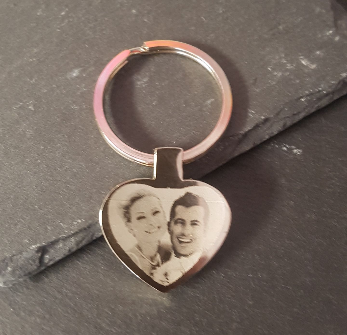 Little Gifts With Love - Personalised Photo Engraved Heart Keyring Keychain