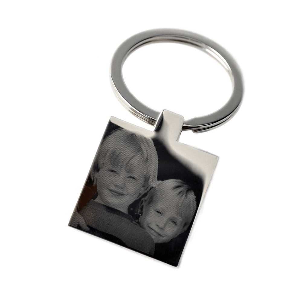 Little Gifts With Love - Personalised Photo Engraved Square Keyring Keychain
