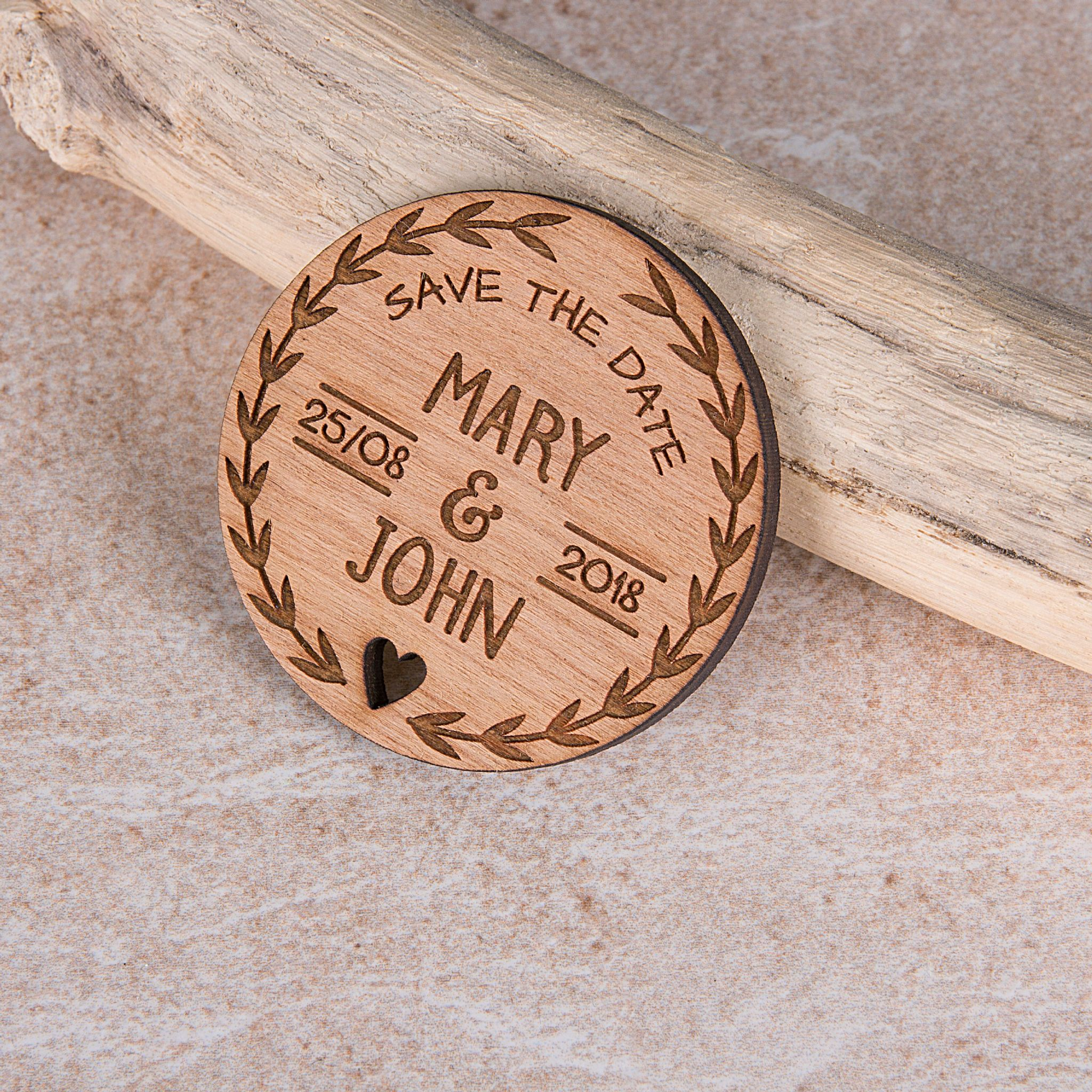Little Gifts With Love - Personalised Rustic Cherry Wooden Round Save The Date Fridge Magnet Invites