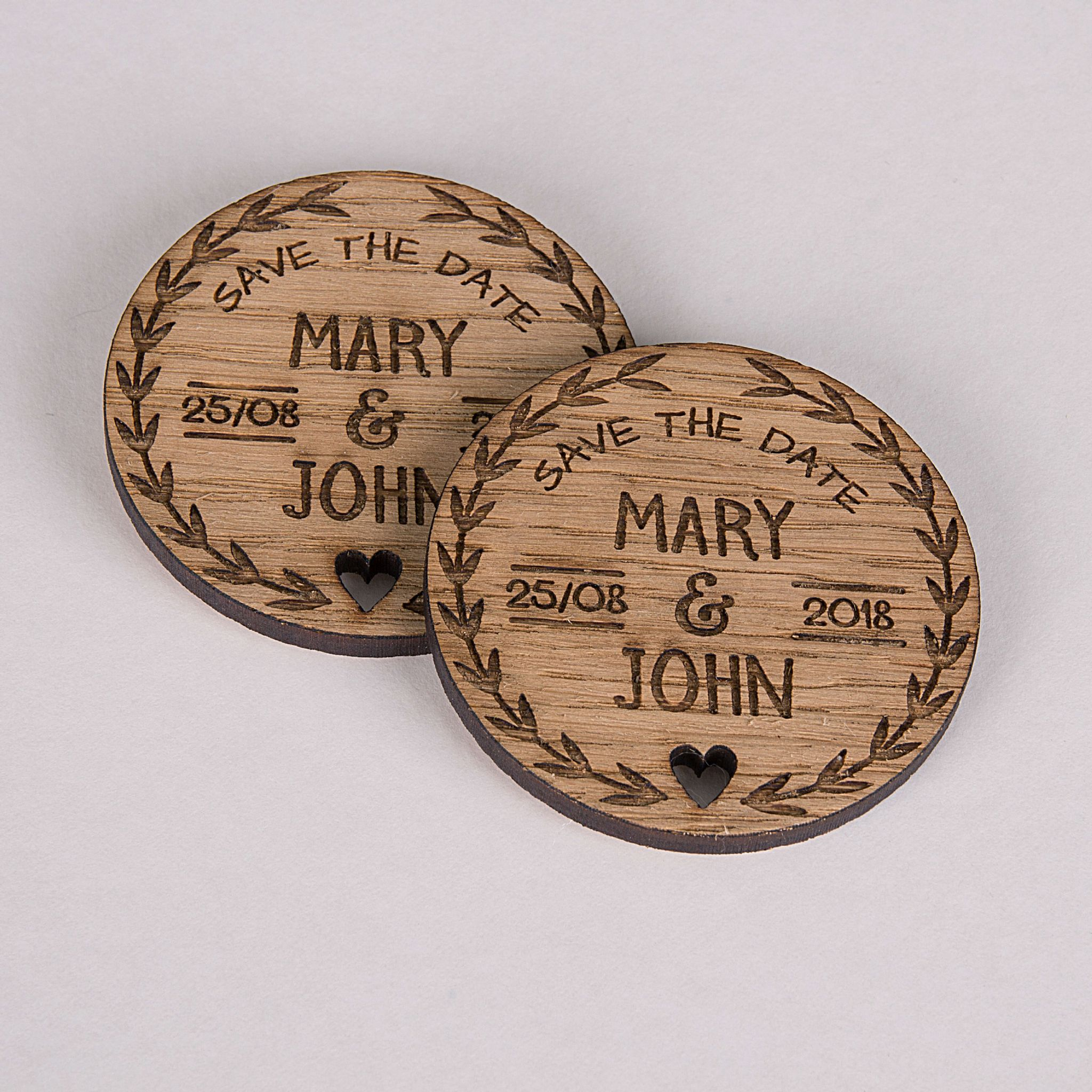 Little Gifts With Love - Personalised Rustic Oak Wooden Round Save The Date Fridge Magnet Invites