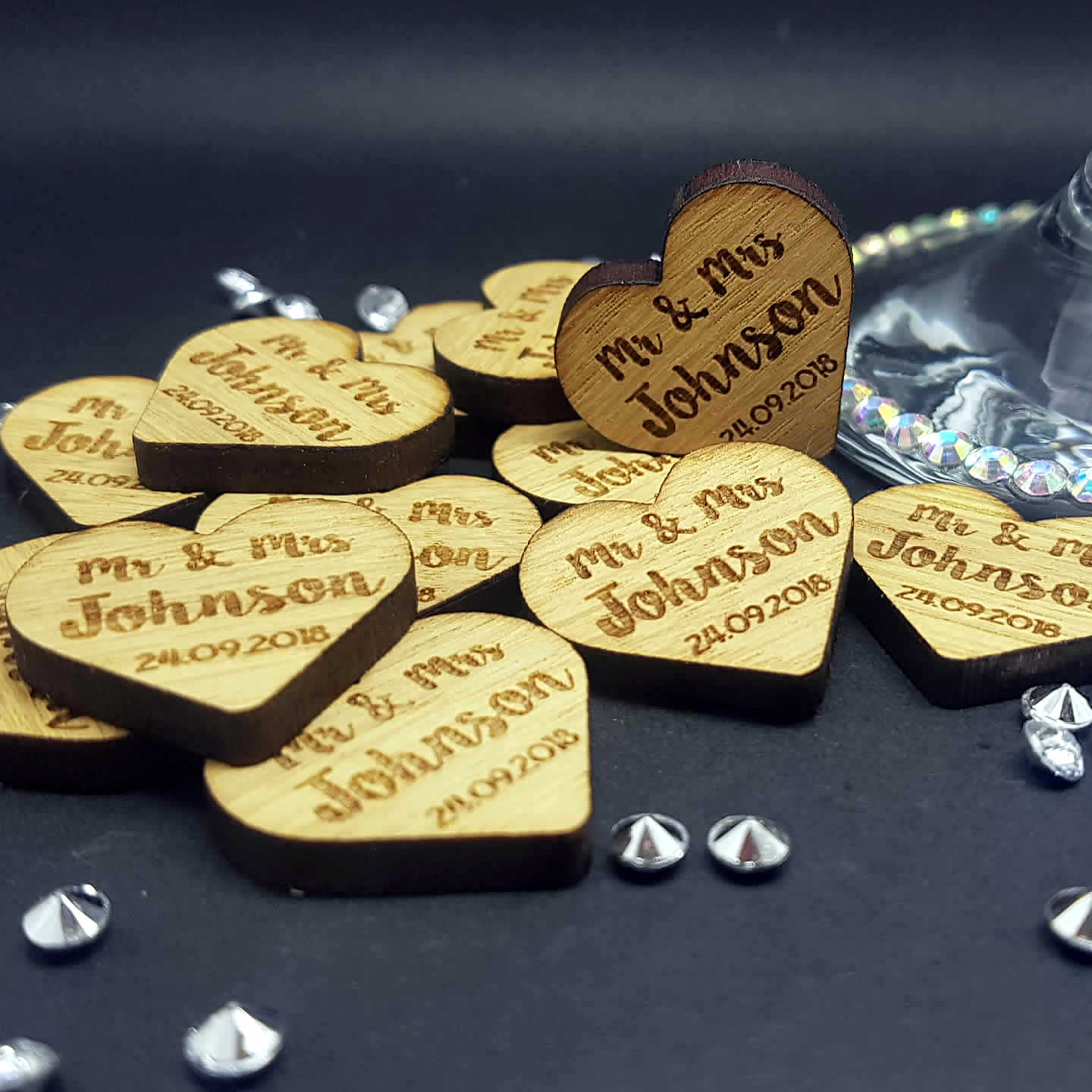 Little Gifts With Love - Personalised Rustic Wooden Heart Mr & Mrs Wedding Table Decorations - Scatter Favour Confetti