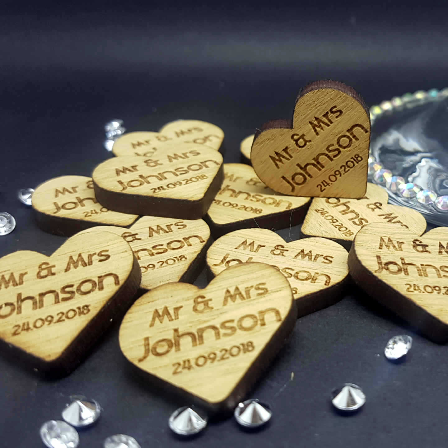 Little Gifts With Love - Personalised Rustic Wooden Heart Mr & Mrs Wedding Table Decorations - Scatter Favours