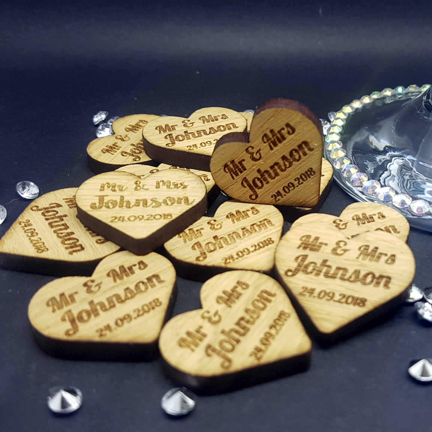 Little Gifts With Love - Personalised Rustic Wooden Mr & Mrs Love Heart Wedding Favours Table Confetti Decorations