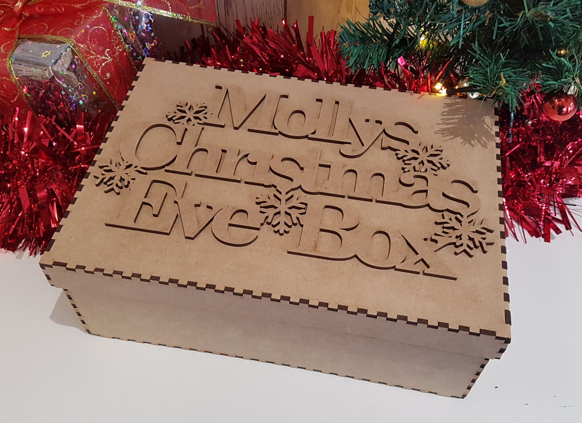 Little Gifts With Love - Personalised Snow Flake Style Christmas Eve Box Topper & Box Laser Cut MDF Wood Crafts