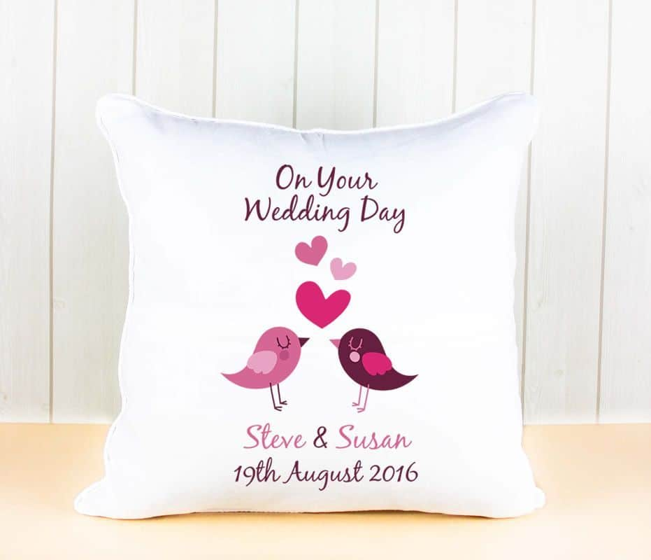 Little Gifts With Love - Personalised Soft Satin Bride & Groom Name & Date Love Birds Cushion Cover Wedding Anniversary Day