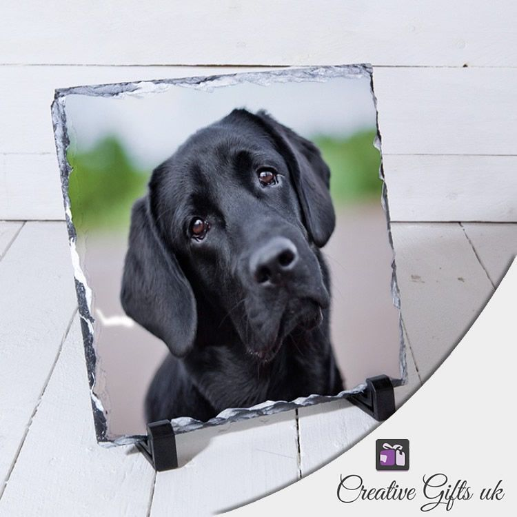 Little Gifts With Love - Personalised Square Photo Stone Slate 14cm x 14cm.