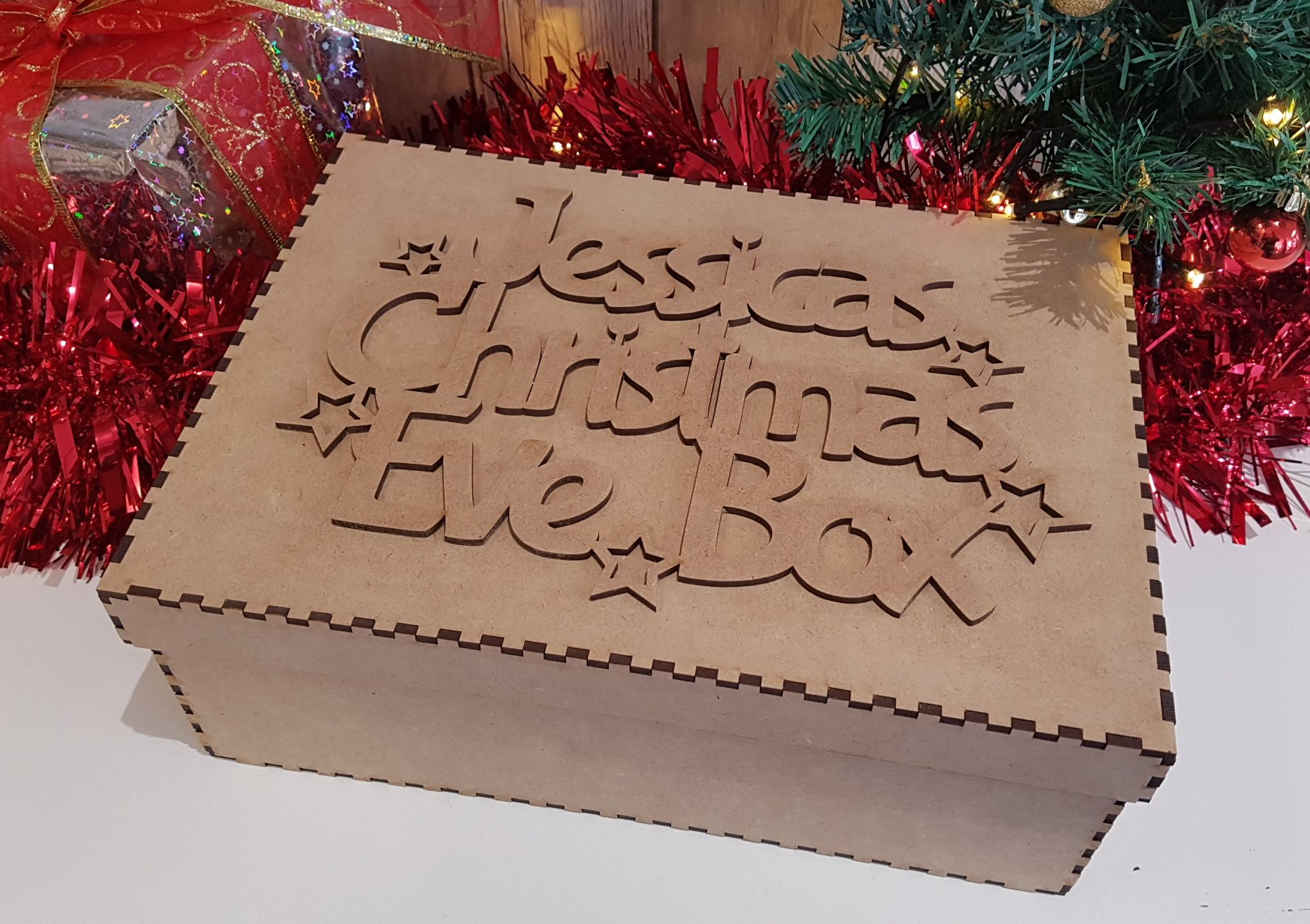Little Gifts With Love - Personalised Stars Style Christmas Eve Box Topper & Box Laser Cut MDF Wood Crafts