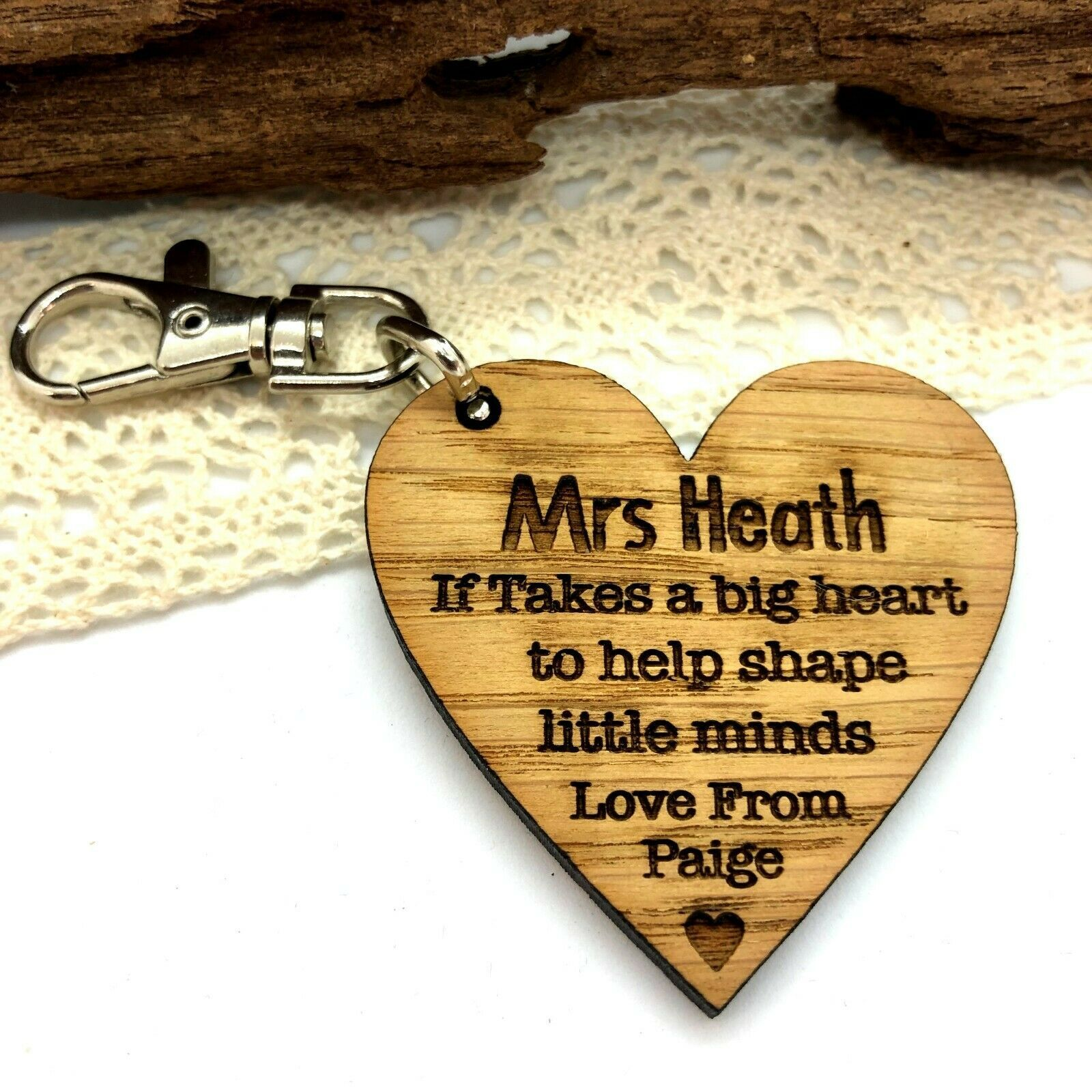 Little Gifts With Love - Personalised Teacher Heart, Teaching Assistant, Nursery School Keyring Gift