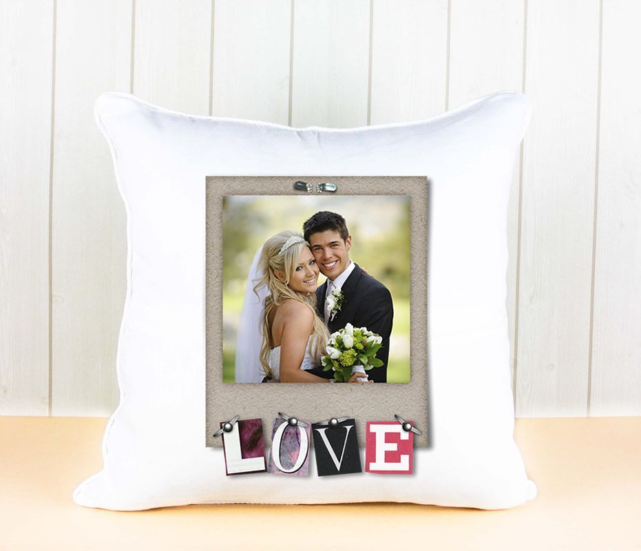 Little Gifts With Love - Personalised White Luxury Cushion Cover Love Frame And Any Image