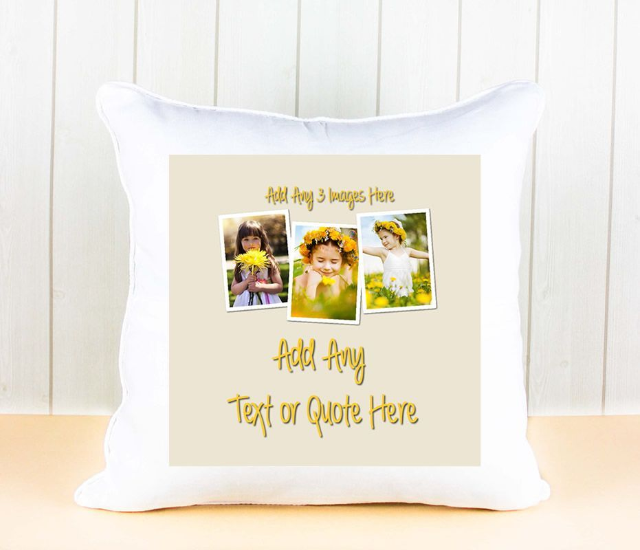 Little Gifts With Love - Personalised White Luxury Cushion Cover with Any 3 Photos and Text
