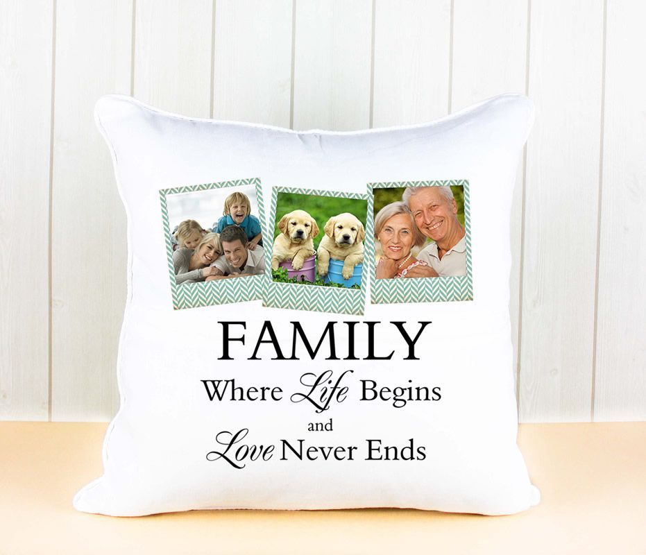 Little Gifts With Love - Personalised White Luxury Cushion Cover with Family Quote And Your Photos