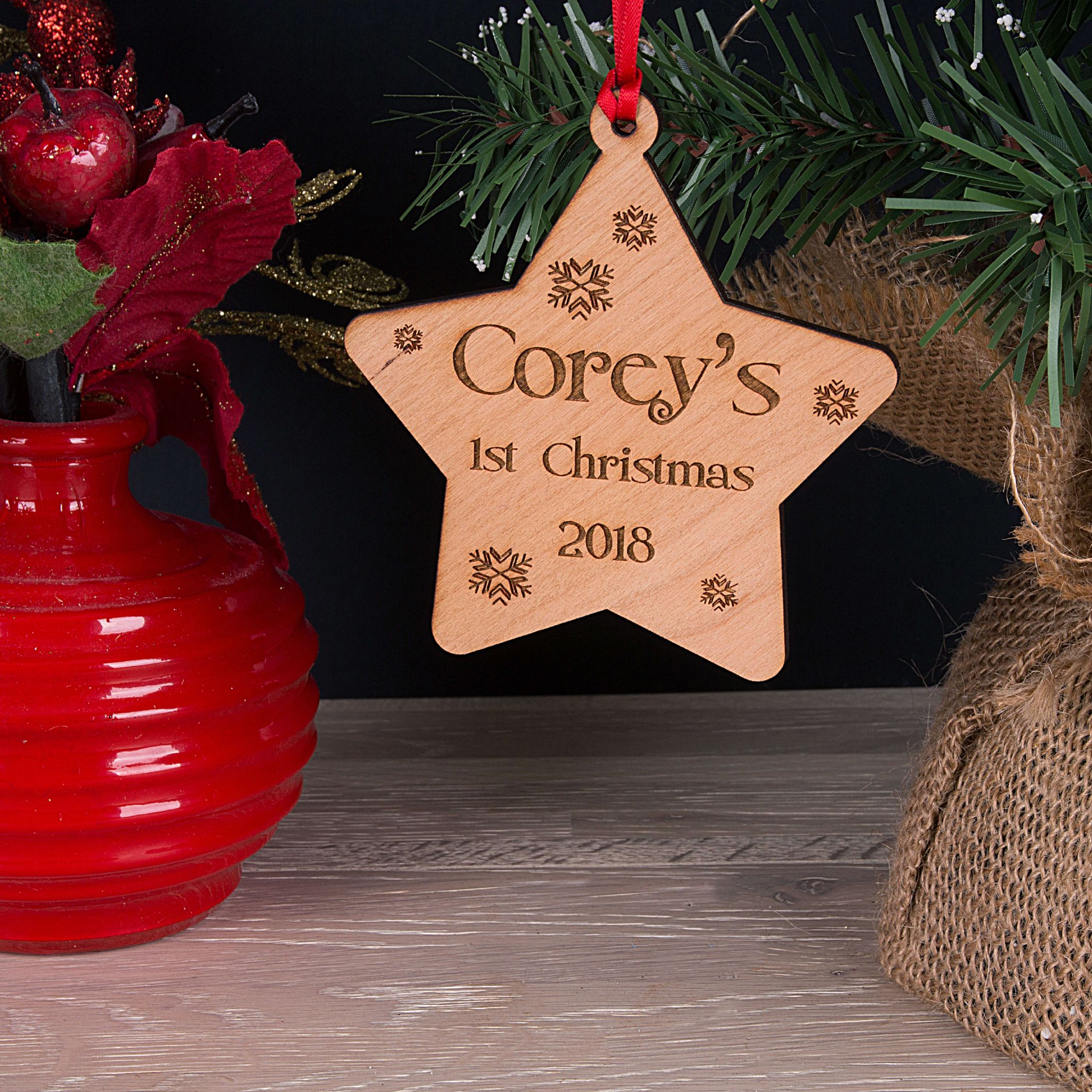 Little Gifts With Love - Personalised Baby's First Christmas Star Tree Decoration Bauble Gift