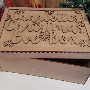 Little Gifts With Love - Personalised Wooden Christmas Eve, Day Box & Name Topper Laser Cut Wood Craft Memory Box