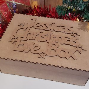 Little Gifts With Love - Personalised Wooden Christmas Eve, Day Box Topper & Box Laser Cut Wood Craft Memory Box