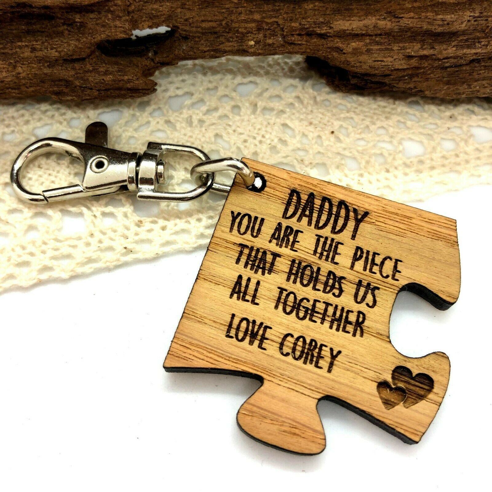 Little Gifts With Love - Personalised Wooden Daddy, You Are The Piece That Hold Us Together Keyring Gift