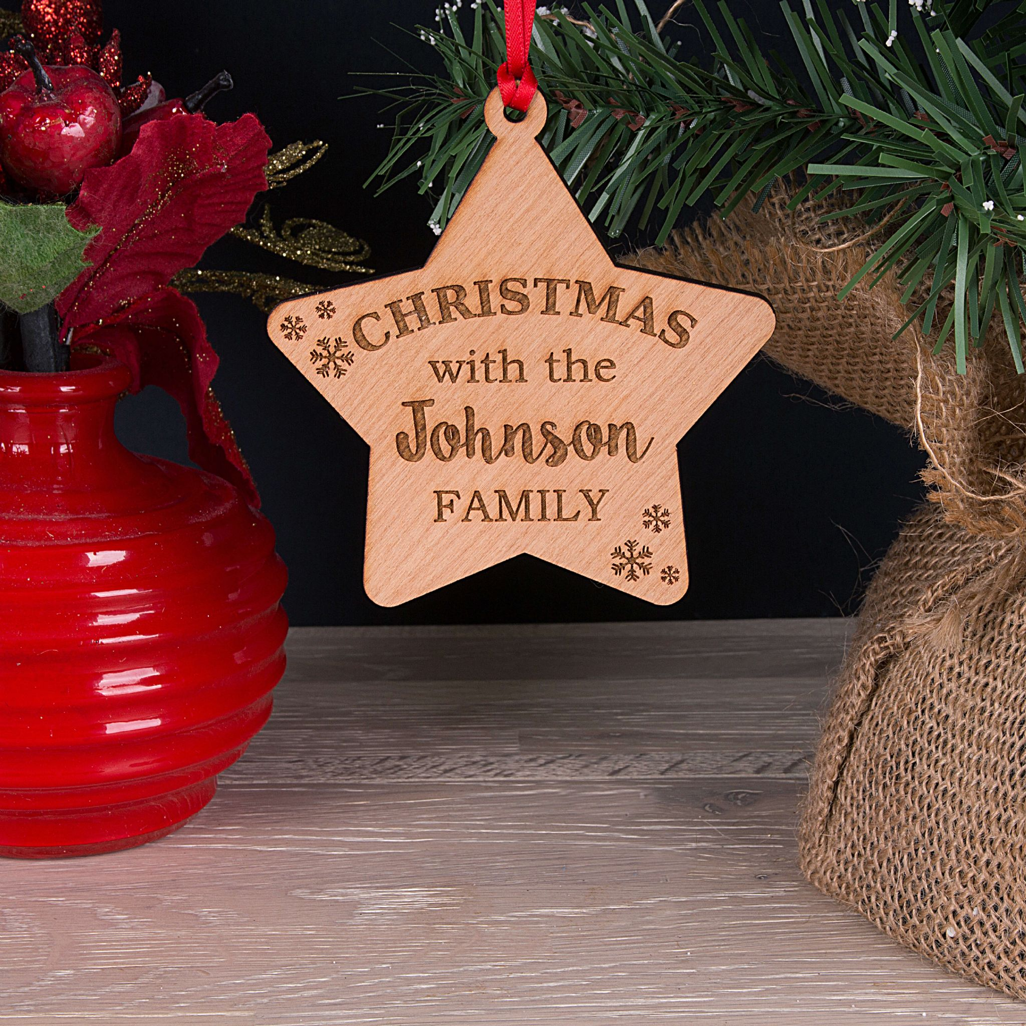 Little Gifts With Love - Personalised Family Christmas Tree Star Decoration Bauble Xmas Gift