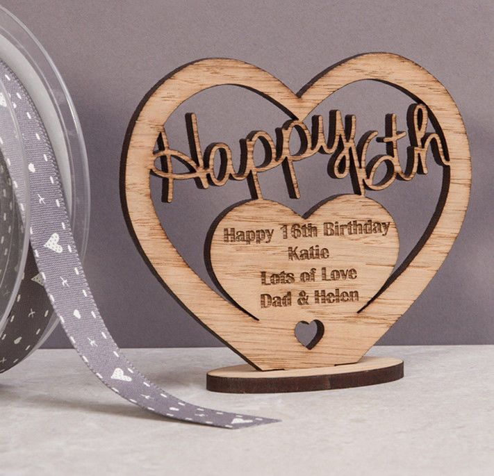 Little Gifts With Love - Personalised Wooden Freestanding Heart for Birthday Gift with Message