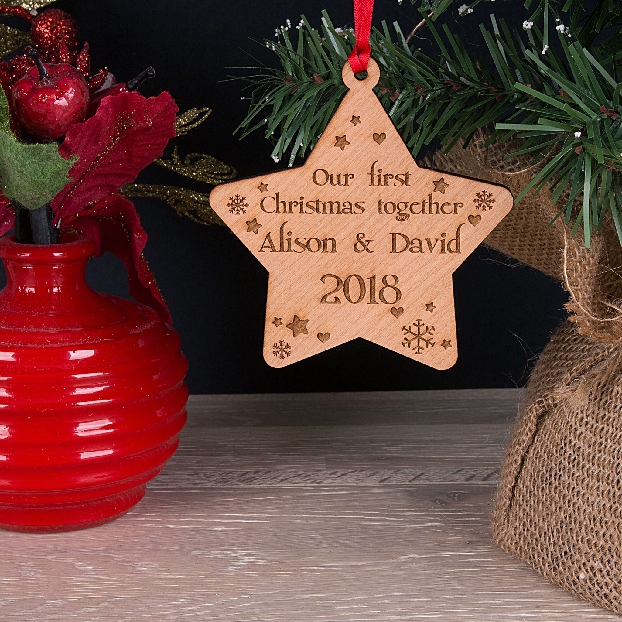 Little Gifts With Love - Personalised Our First Together Christmas Tree Star Decoration Bauble Xmas Gift