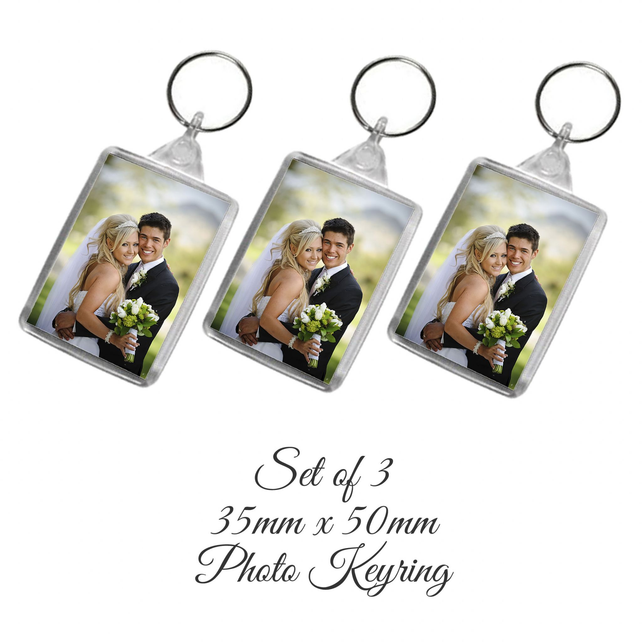 Little Gifts With Love - Set of 3 Personalised Photo Keyrings 50mm x 35mm Add Any Photo or Image + free Delivery