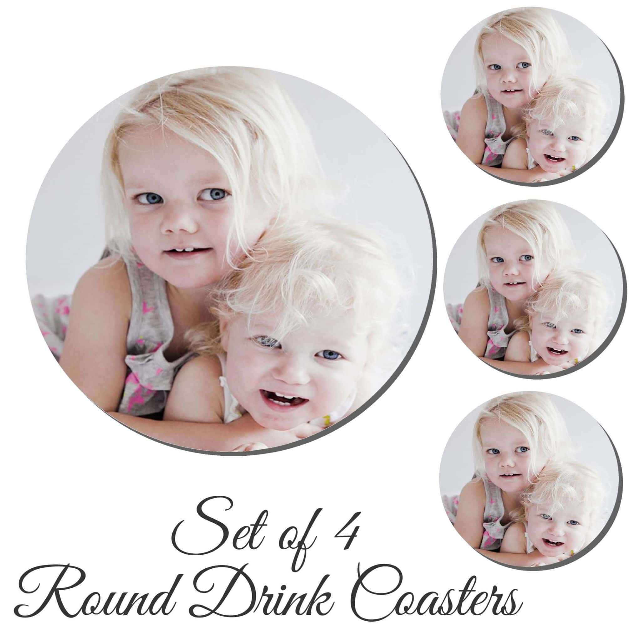 Little Gifts With Love - Set of 4 Personalised Round Drink Coaster Add Any Photo or Image + Free Delivery