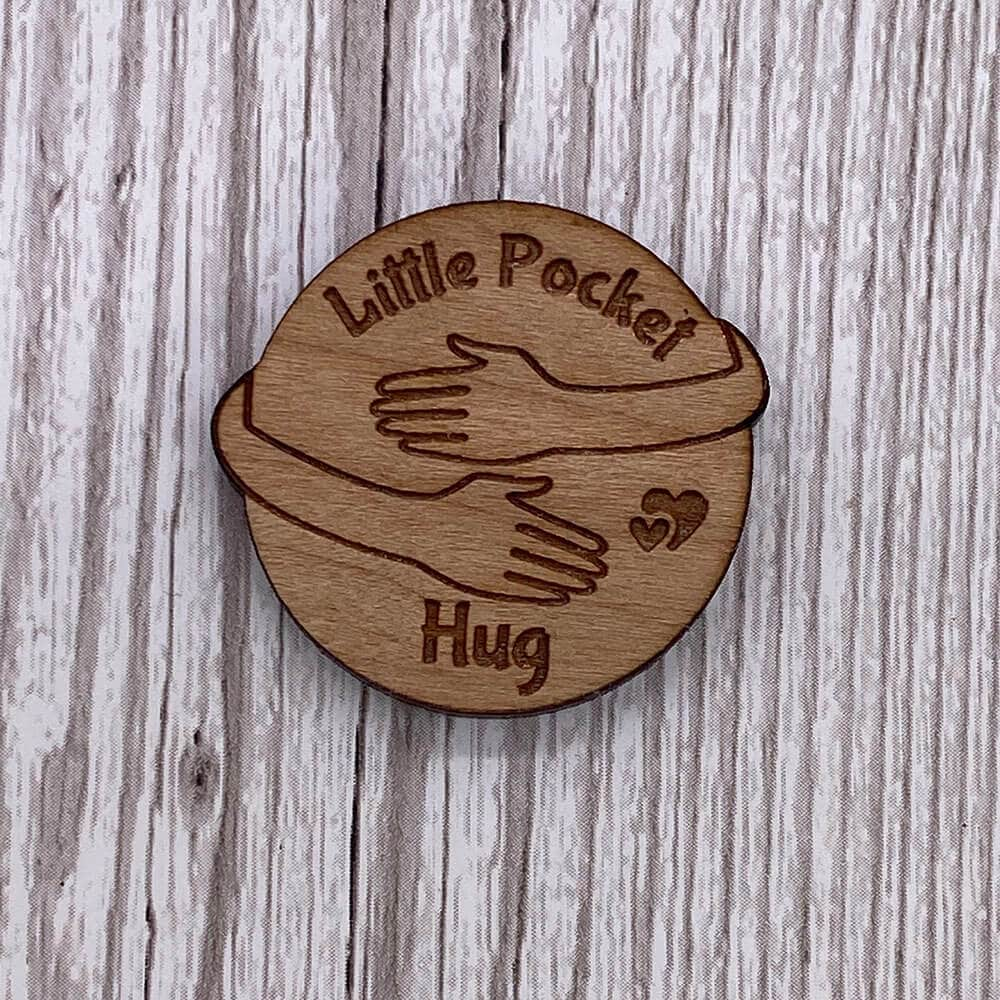 Little Gifts With Love - Wood A Little Pocket Hug Token Loved Ones in need of Hug NHS Fridge Magnet Gift