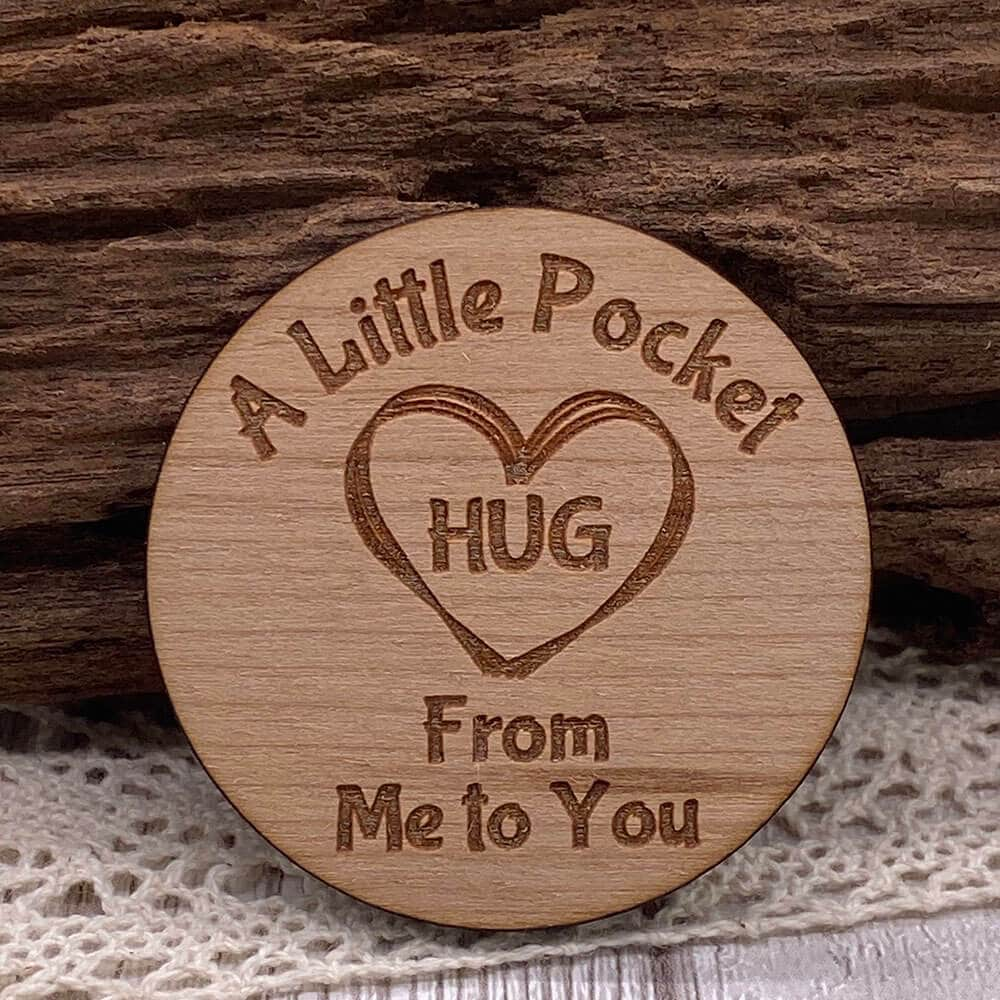 Little Gifts With Love - Wooden Little Pocket Hug Heart Tokens for Loved Ones in need of a Hug Gift